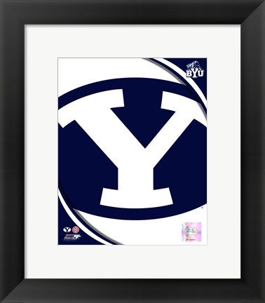 Framed Brigham Young University Cougars Team Logo Print