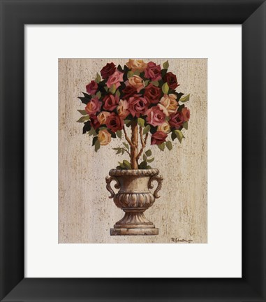 Framed Pink and Red Rose Topiary Print