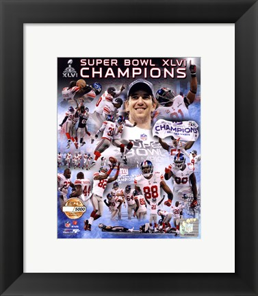 Framed New York Giants Super Bowl XLVI Champions PF Gold - Hand Numbered Limited Edition.  8x10's 5000, Enlargements 500. Print