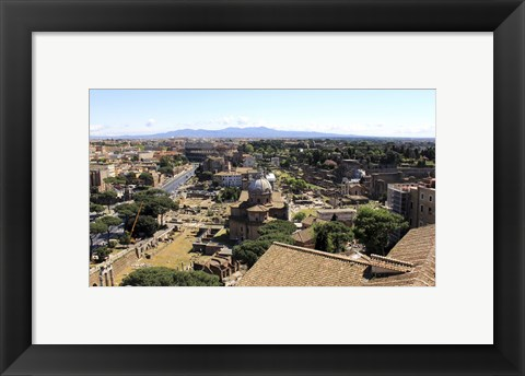 Framed View of Monument to Vittorio Emanuele II to Forum Romanum and Colosseum, Rome, Italy Print