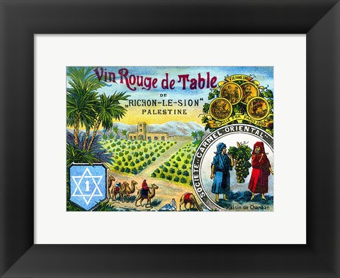 Framed Red table wine from Rishon de Zion Palestine Print
