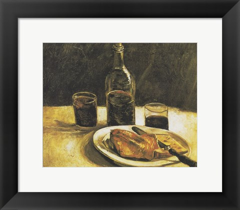 Framed Still Life with Bottle, Two Glasses, Cheese and Bread Print