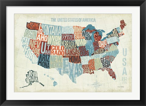Framed USA Modern Blue Print