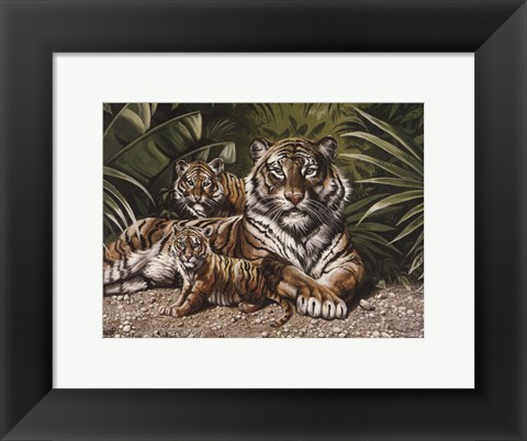Framed Yellow Tigers With Cubs Print