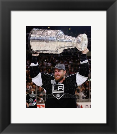 Framed Jeff Carter with the Stanley Cup Trophy after Winning Game 6 of the 2012 Stanley Cup Finals Print