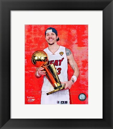 Framed Mike Miller with the NBA Championship Trophy Game 5 of the 2012 NBA Finals Print