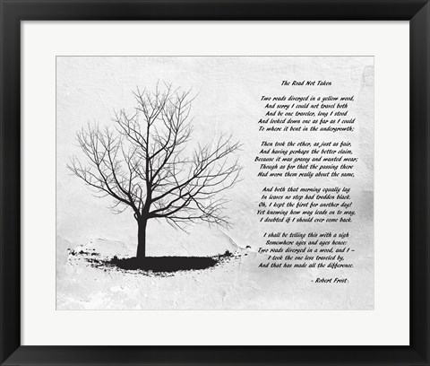 Framed Robert Frost The Road Not Taken Print