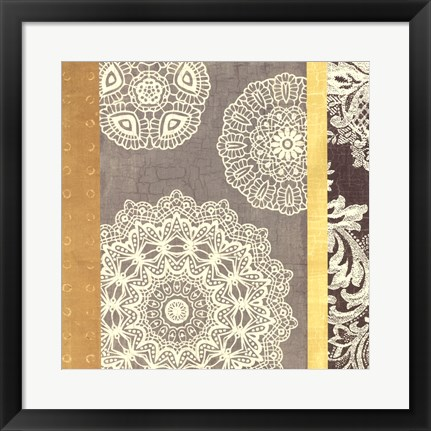 Framed Contemporary Lace II - Yellow Grey Print