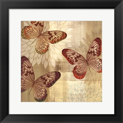 Framed Tropical Butterflies I Print