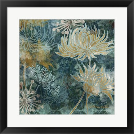 Framed Navy Chrysanthemums I Print