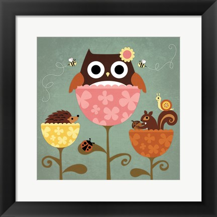 Framed Owl, Squirrel and Hedgehog in Flowers Print