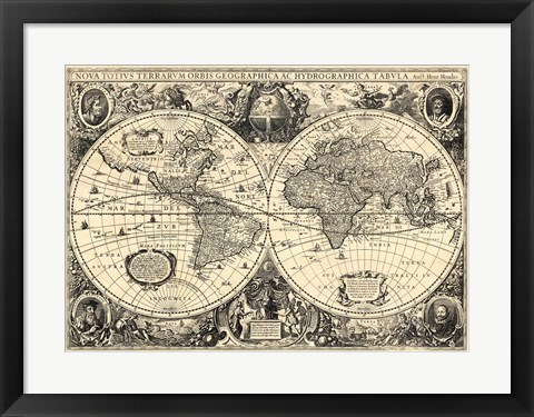 Framed Vintage World Map - Orbis Geographica Print