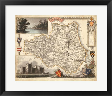 Framed Map of Durham Print