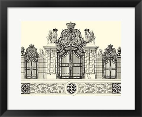 Framed B&W Grand Garden Gate I Print