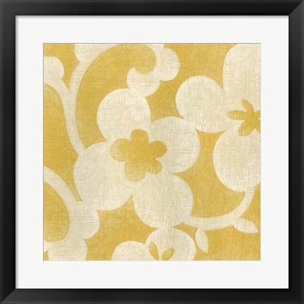 Framed Suzani Silhouette in Yellow I Print