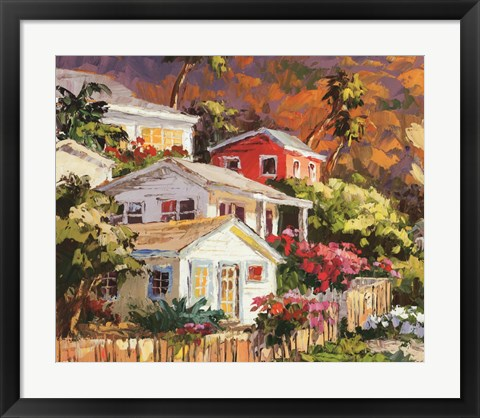 Framed Beach Cottage Community Print