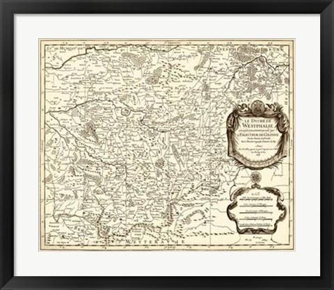 Framed Antiquarian Map I Print