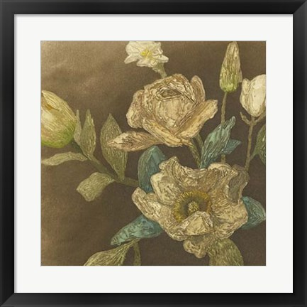 Framed Antiqued Bouquet II Print