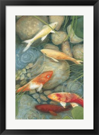 Framed Reflecting Koi I Print