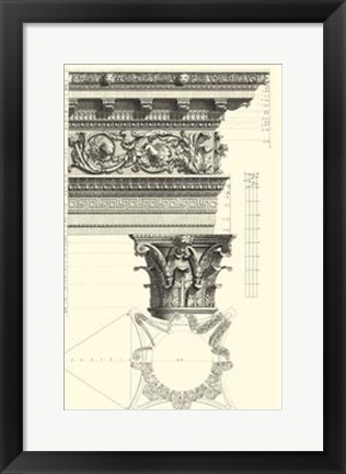 Framed B&W Column and Cornice II Print