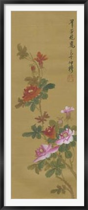 Framed Oriental Floral Scroll IV Print