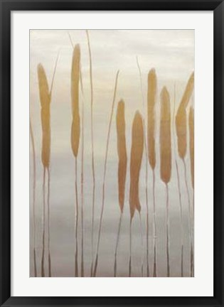Framed Reeds and Leaves I Print