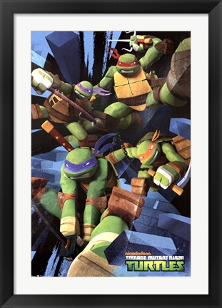Framed Teenage Mutant Ninja Turtles - Attack Print