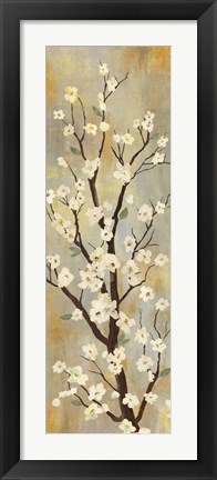 Framed Balance  II (blossoms on yellow and grey texture) Print