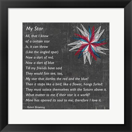 Framed My Star by Robert Browning - gray Print