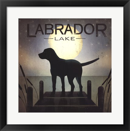 Framed Moonrise Black Dog - Labrador Lake Print