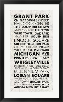 Framed Chicago Cities I Print