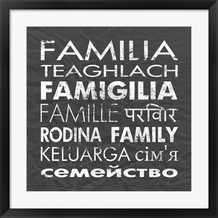 Framed Family Square Gray Print