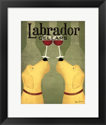 Framed Two Labrador Wine Dogs Print