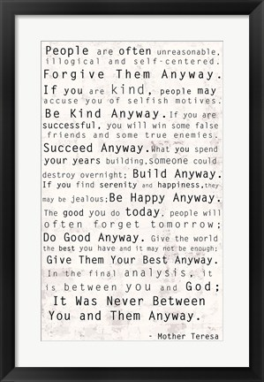 Framed Mother Teresa Quote Print
