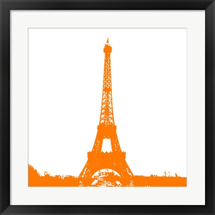 Framed Orange Eiffel Tower Print