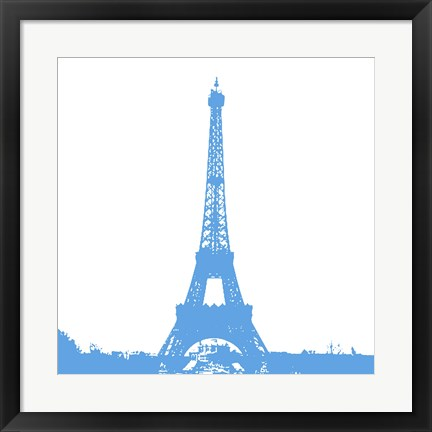 Framed Blue Eiffel Tower Print