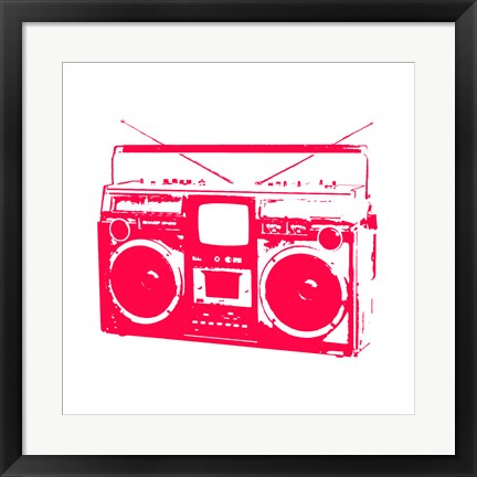Framed Red Boom Box Print