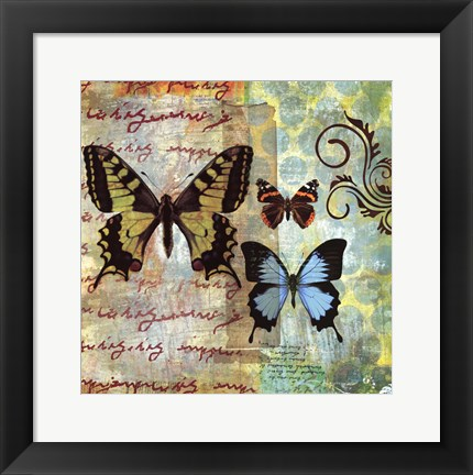 Framed Homespun Butterfly I Print