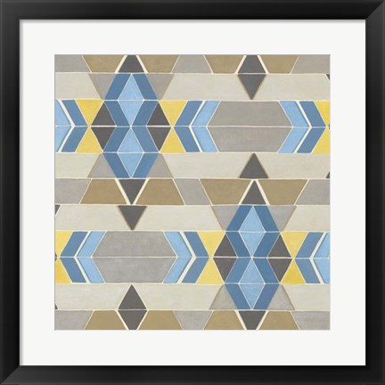 Framed Blue and Yellow Geometry II Print