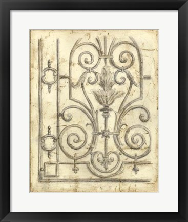 Framed Decorative Iron Sketch III Print