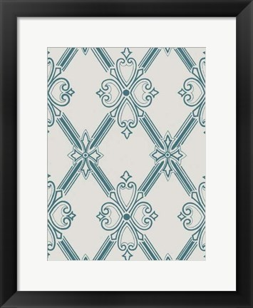 Framed Ornamental Pattern in Teal II Print