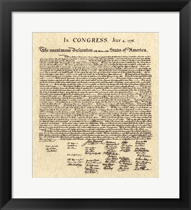 Framed Declaration of Independence Khaki Print