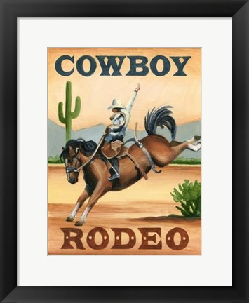 Framed Cowboy Rodeo Print
