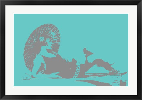 Framed 1920s Parasol on Blue Print