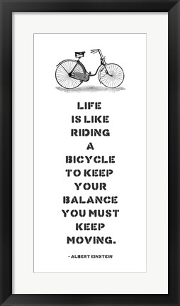 Framed A. Einstein Bicycle Quote Print