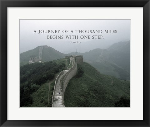 Framed Journey Of A Thousand Miles Quote Print