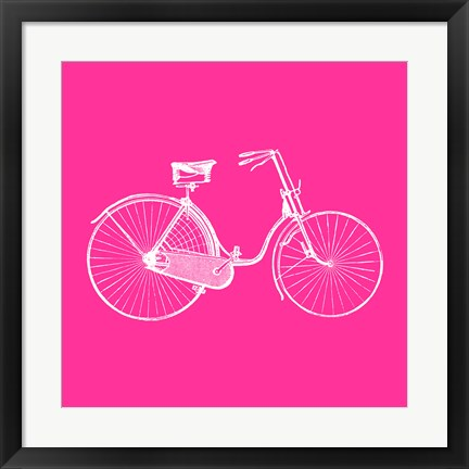 Framed Pink Bicycle Print