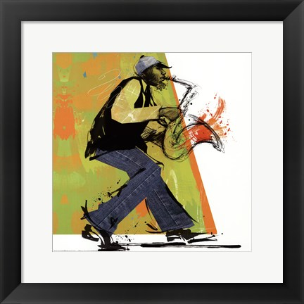 Framed Sax Player - mini Print