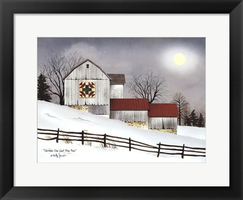 Framed Christmas Star Quilt Block Barn Print