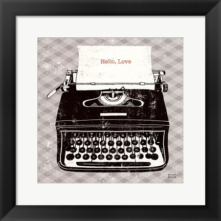 Framed Vintage Analog Typewriter Print
